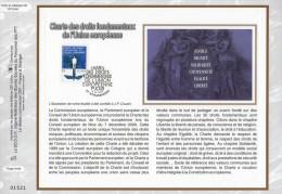 """Feuillet CEF 1° Jour N°té En Soie De 2003 """" CHARTRE DES DROITS FONDAMENTAUX DE L´U.E"""". N° YT 3555. Parfait état ! - Postdokumente"""