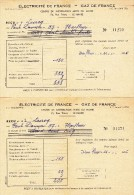 2 Factures Électricité De France Gaz De France - 1956 - - Factures & Documents Commerciaux