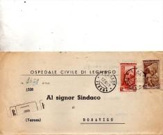 1952  LETTERA RACCOMANDATA CON ANNULLO LEGNAGO VERONA - 6. 1946-.. Repubblica