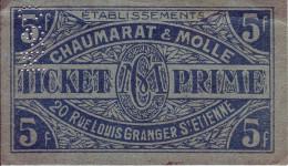 LOIRE 42 - Ticket Prime - Chaumarat Et Molle - St Etienne - 5 Francs - - Buoni & Necessità