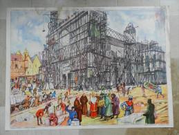 AFFICHE SCOLAIRE ROSSIGNOL 15.une Cathedrale En Construction Et 16 Une Rue De Ville Au Moyen Age - Afiches