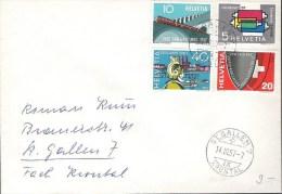 Orts-Brief Von ST.GALLEN-KRONTAL 14.III.57 Mit Zu 328-331 Mi 637-640 Yv 586-589 - Lettres & Documents