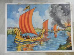 AFFICHE SCOLAIRE ROSSIGNOL 9.les Normands 10 L'attaque Du Chateau Fort - Afiches