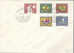 Blanko-Brief Von THALWIL 8.VII.58 Mit Zu 86-90 Mi 657-661 Yv 606-610 (Zu CHF 25.00) - Minéraux