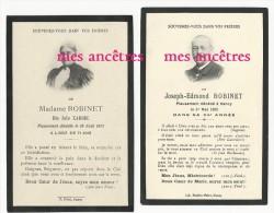 Photo-couple Julie Xardel Dcd 1913  Et Joseph Edmond Robinet Dcd 1908 à NANCY Image Faire-part De Décès - Avvisi Di Necrologio