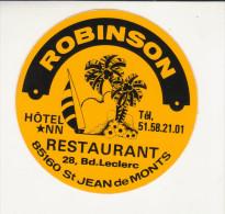 AUTOCOLLANT -   ROBINSON - RESTAURANT A ST JEAN DE MONTS 85 - VOILE PALMIERS - - Stickers