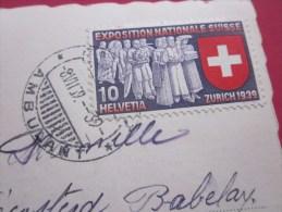 Cachet à Date Ambulant Timbre Seul Exposition Nationale Suisse Zurich 1939 S Carte Postale SIERRE Helvetia Pr Pully - Brieven En Documenten
