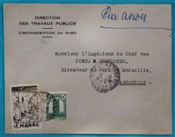 Enveloppe 1944 Par Avion Rabat Pour Marseille, Affr. 3 F 50  Fes YT 193, 207 - Marokko (1891-1956)