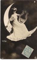 CPA..  FEMME ...CROISSANT DE LUNE ..REUTLINGER ..CIRCULE 1905..BE ..BRILLANTE .SCAN - Mujeres