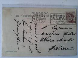 1928  Novara Annullo Meccanico Targhetta Pubblicità Salsomaggiore Cat. Ornaghi  1406f  Bella Cartolina - 1900-44 Victor Emmanuel III