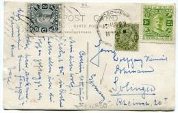 INDES ANGLAISES CARTE POSTALE DEPART COCHIN 12 AUG 27 POUR SOLINGER (ALLEMAGNE) - 1911-35 Roi Georges V