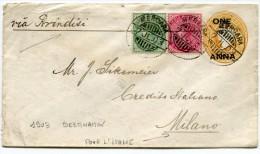INDES ANGLAISES ENTIER POSTAL DEPART MERCARA 7 JL. 03 VIA BRINDISI POUR L'ITALIE - 1902-11 King Edward VII