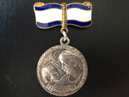 USSR Silver Medal Maternity 1 Degrees Enamel 1970's - Rusia