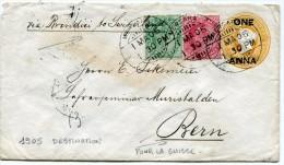INDES ANGLAISES ENTIER POSTAL DEPART MERCARA 1 MA 05 VIA BRINDISI POUR LA SUISSE - 1902-11 King Edward VII