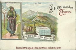 67 CPA Litho Gruss Andlau Bischofsheim Publicité Café Malt Schiltigheim - Schiltigheim