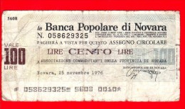 MINIASSEGNI - BANCA POPOLARE DI NOVARA - Usato - BPNO.010 - [10] Assegni E Miniassegni