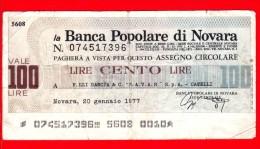 MINIASSEGNI - BANCA POPOLARE DI NOVARA - Usato - BPNO.026 - [10] Assegni E Miniassegni