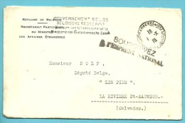 Brief Met Stempel STE-ADRESSE / POSTE BELGE Op 1/10/18 Met Stempel GOUVERNEMENT BELGE + SOUSCRIVEZ - Guerre 14-18