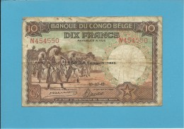 BELGIAN CONGO - 10 FRANCS - 10.07.1942 - P 14B - BANQUE DU CONGO BELGE - BELGIUM - Belgian Congo Bank