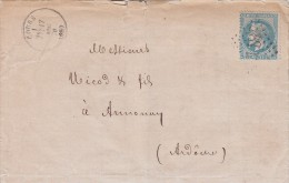 1870, LETTRE , 68 RHONE, GC 1184 COURS Pour ANNONAY   /4513 - Postmark Collection (Covers)