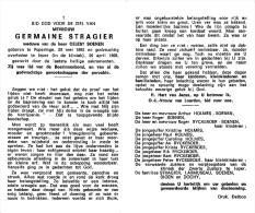 Germaine Stragier - Poperinge 1892 - Ieper 1968 - Vve. De Celest Soenen - Décès