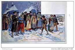 Usages Et Costumes D´ALSACE VERS 1903PEINTURE SIGNEE - Costumi