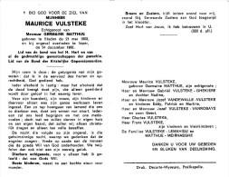 Maurice Vulsteke - Staden 1900 - Ieper 1966 - E. De Germaine Matthue - Décès