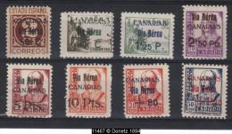 11467 Canaries surch. de 1938 (rousseurs au 158).  Y.T. : P.A. 154 / 161 **