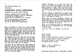 Godelieve Julia Larmuseau - Moorslzde 1909 - Roeselare 1975 - E. De Robert Cardoen - Décès