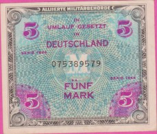 ALLEMAGNE - 5 Mark 1944 Occupation USA - Pick 193a - SUP - [ 5] 1945-1949 : Allies Occupation
