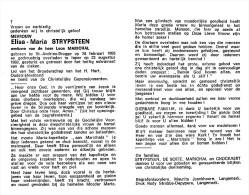 Elisa-Maria Strypsteen - St.Andries-Brugge 1895- Ieper 1980 - Vve. De Leon Marichal - Overlijden