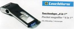 Lupe 10x Mikroskop 55x UV-Licht Neu 10€ Prüfen Ansichtskarte Briefmarke Münzen Paper Money LEUCHTTURM Offer In Black Bag - Billets