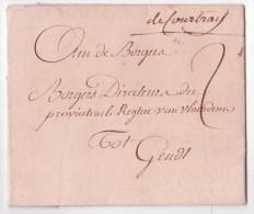 """L. 4.2.1795 Avec Manuscrit """"de Courtray"""" Pour Gand (pas Répertorié En 1795) - 1794-1814 (Période Française)"""