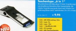 Mikroskop 55x Lupe 10x UV-Licht Kompakt Neu 10€ Zum Prüfen Briefmarken Münzen Paper Money LEUCHTTURM Offer In Black Bags - Lithografieën