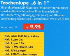 Lupe 10x Mikroskop 55x UV-Licht Kompakt Neu 10€ Prüfen Buch Briefmarken Münzen Paper Money LEUCHTTURM Offer In Black Bag - Otros