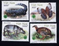 Vietnam Viet Nam MNH Perf Withdrawn Stamps 2001 : Animals In Cat Tien National Park / Butterfly / Crocodile / Bird - Vietnam