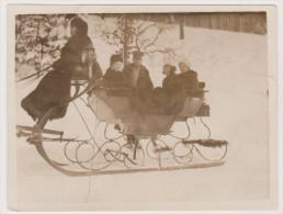 Deutscher Offizier Und Familie Mit Pferdeschlitten Im Winter Elsterberg 1917 - Krieg, Militär