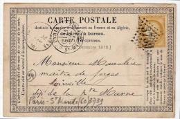 !!! CARTE PRECURSEUR CERES CACHET DE PARIS SAINT MANDE ( VAL DE MARNE ) 1874 - Precursor Cards