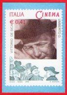 [MD0151] RIPRODUZIONE FRANCOBOLLO - VITTORIO DE SICA - UMBERTO D. - CON ANNULLO GIORNO DI EMISSIONE 10.5.2002 - Cinema