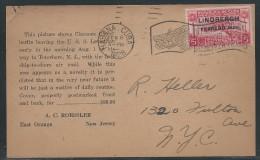 Cuba, Charles A. Lindbergh Flight Feb. 8, 1928, Scott #C2, 5c Carmine Rose, On A.C. Roessler Advertising Postcard - Airmail