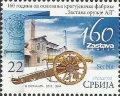 SRB 2013-534 160A°ARMY FACTORY -KRAGUJEVAC, SERBIA, 1 X 1v, MNH - Militaria