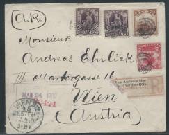 Cuba, U.S. Administration, Scott #228, 229 (2 Copies), 231, On Registered Cover Sent To Austria, Rare A.R. Marking - Cuba