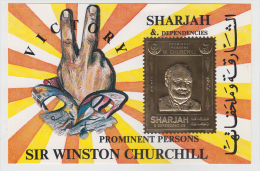Sharjah  Sir Winston Churchill  M/S Gold Print # 811195 - Sir Winston Churchill