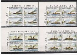 Türkei 1989 Mi# 2857-60 ** MNH 4-er Block Schiffe Dampfschiffe Steam Ships Scott # 2442-45 - Ungebraucht