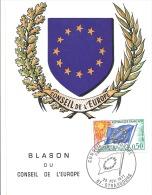 CARTE MAXIMUM   BLASON DU CONSEIL DE L´EUROPE  1971 - 1970-79
