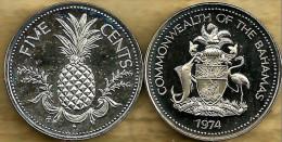 BAHAMAS 5 CENTS PINEAPPLE FRUIT FRONT EMBLEM BACK 1974 Ex-PROOF KM? READ DESCRIPTION CAREFULLY !! - Bahamas