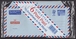 DR01e GREAT BRITAIN, Unopened Pack 6 Airletters (aerogrammes) - Postwaardestukken