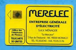 Telecarte MERELEC  Monaco - Monaco