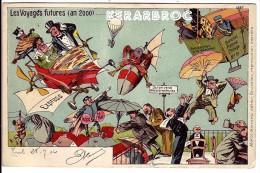 Rare CPA Anticipation 1904 Voyages An 2000 AEROSTAT AVIATION PARACHUTE MONTGOLFIERE Marcovici Police De L'air - 1900-1949