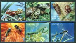 Bhutan 1969, 3D Stereo Stamp - Insects - Bee - Beetle - Dragonfly **, MNH (not Complete) - Bhutan